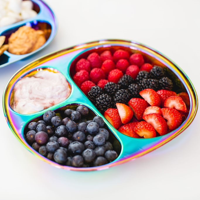 Rainbow plate as healthy tray for kids