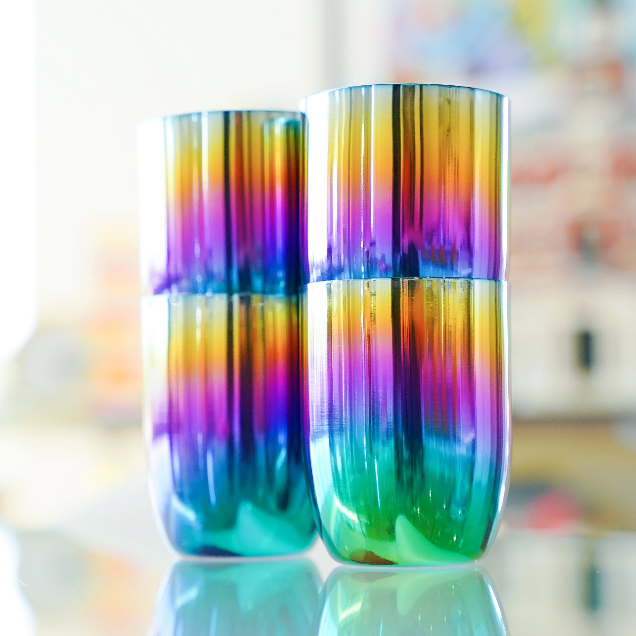 Stackable rainbow cups