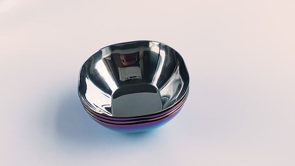 Iridescent blue stainless steel bowls