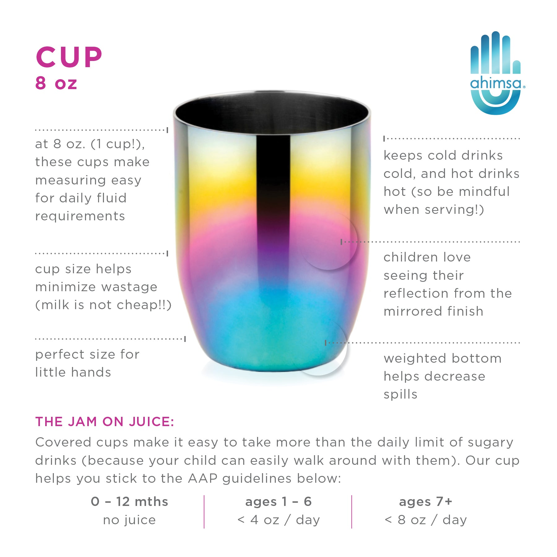 Perfect sized kids cup for small hands, reducing waste and mess