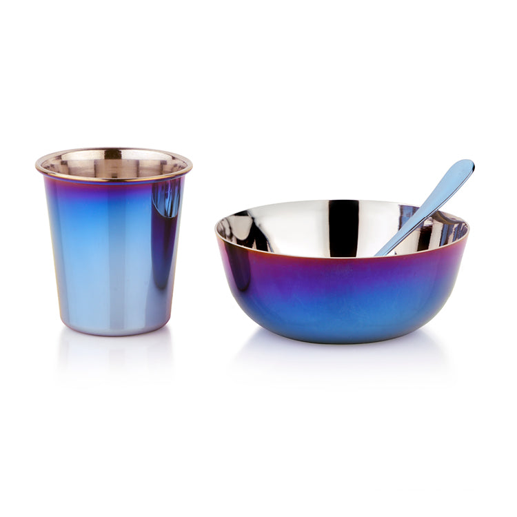 Blue stainless steel infant set with bowl, training cup and infant spoon