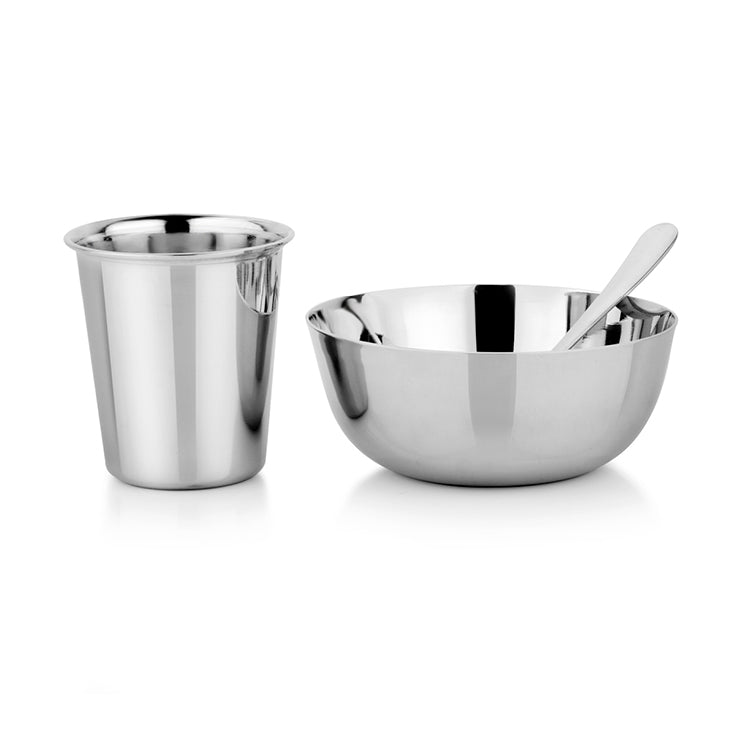Stainless steel infant set with bowl, training cup and infant spoon