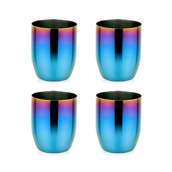 Iridescent blue cups