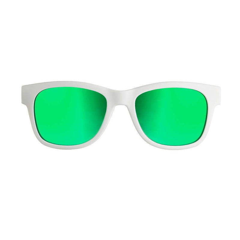 VocalSkull Alien 5 Bone Conduction Glasses Wireless Bluetooth Bright White Frame (Green)