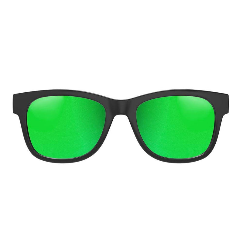 VocalSkull Alien 5 Bone Conduction Glasses Wireless Bluetooth Matted Black Frame (Green)