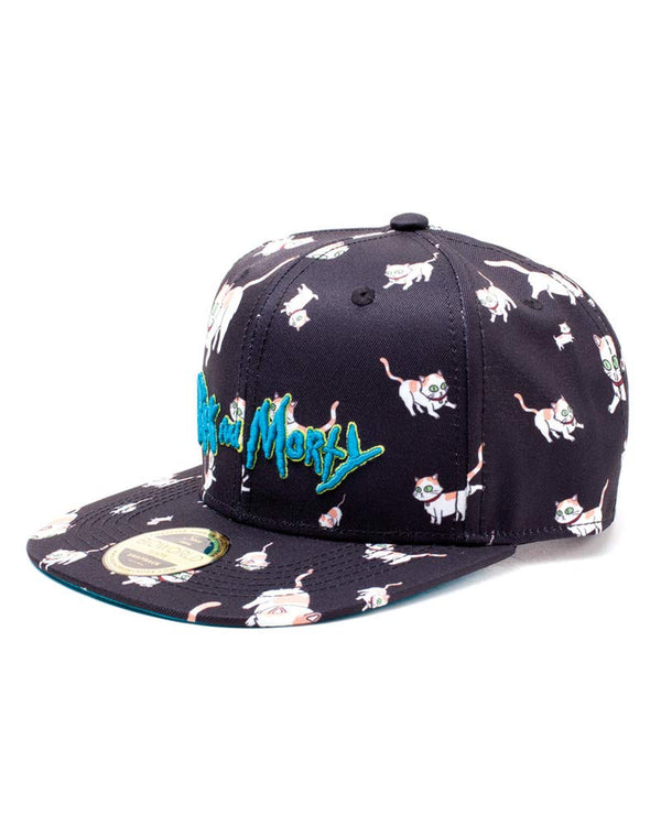 Rick And Morty Embroidered Logo And Cats All-over Print Snapback Baseball Cap, Black/blue Sb008476rmt