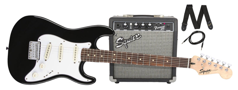 Fender Stratocaster Squier Short Scale Beginner Electric Guitar Pack (Black)
