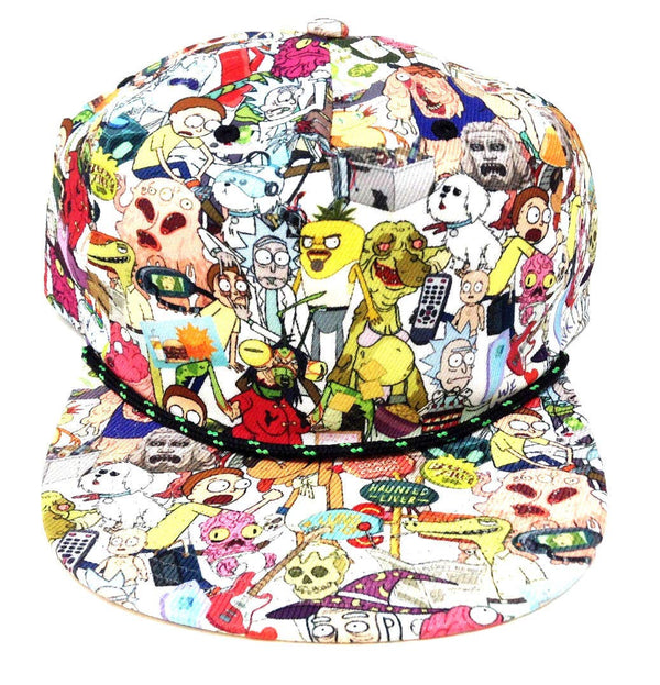 Rick And Morty Character Print Snapback Hat