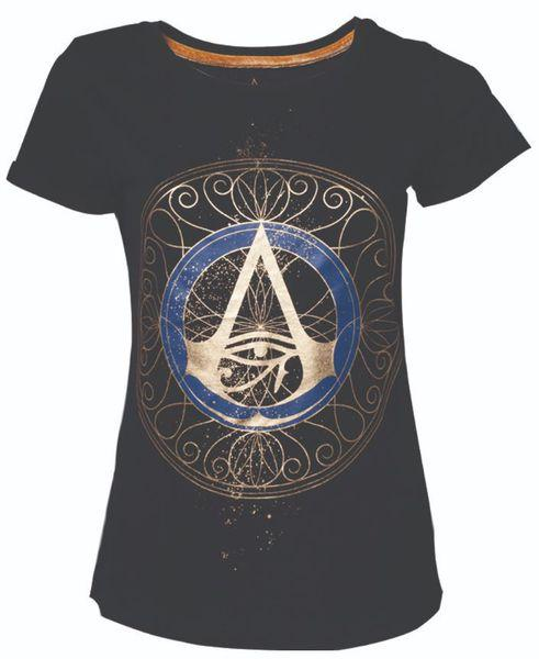 Assassin's Creed Origins - Gold Spaller Logo - Ladies T-Shirt - Black (Small)