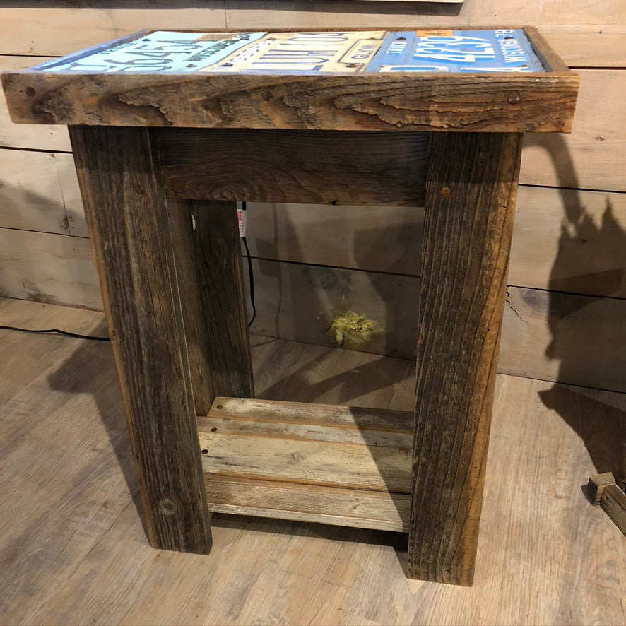 License Plate End Table