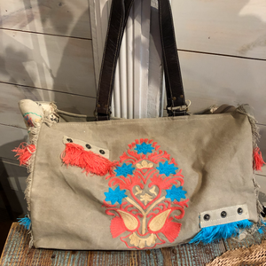 Crewel Accents Canvas Tote