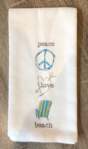 Peace, Love, Beach Dish Towel
