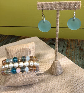 Crystal & Pearl Bracelet w/ Blue Glass Earrings