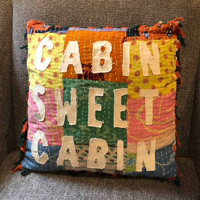 Shabby Chic Patchwork Cabin Sweet Cabin Pillow