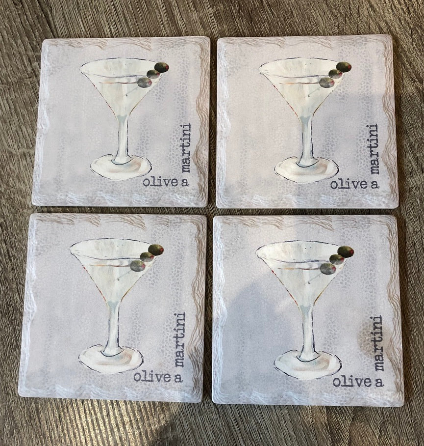Olive A Martini Coaster Set/4