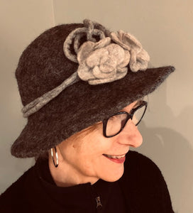 Gray Boiled Wool Brimmed Hat w/Flower