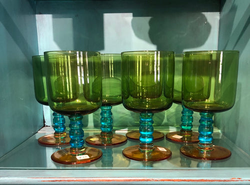Green & Teal Wine Glass