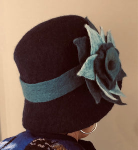 Navy Boiled Wool Hat w/Light Blue Flower