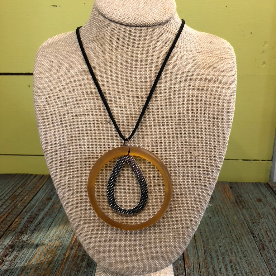 Circle Necklace W/ Suede Cord