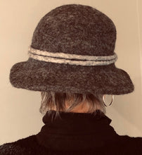 Load image into Gallery viewer, Gray Boiled Wool Brimmed Hat w/Flower