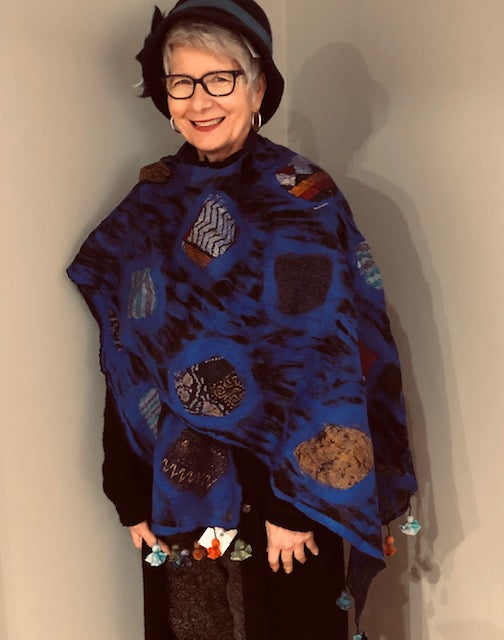 Blue Patchwork Boiled Wool Shawl