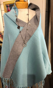 Aqua/Gray Shawl w/Silver Necklace