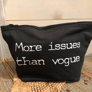 """More Issues than Vogue"" Makeup bag - Black"