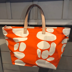 Orange Dot Canvas Tote w/ Leather handles