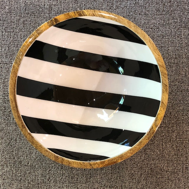 Wool-Enamel Bowl Black-White