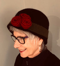 Load image into Gallery viewer, Black Boiled Wool Hat w/Red Flowers