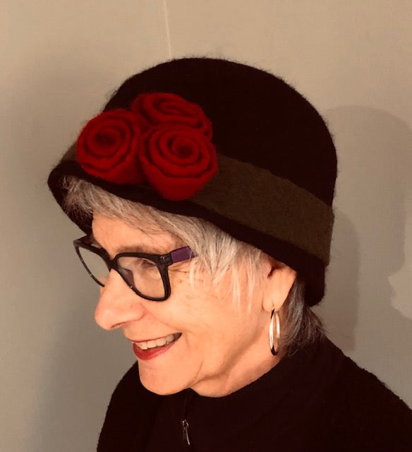 Black Boiled Wool Hat w/Red Flowers