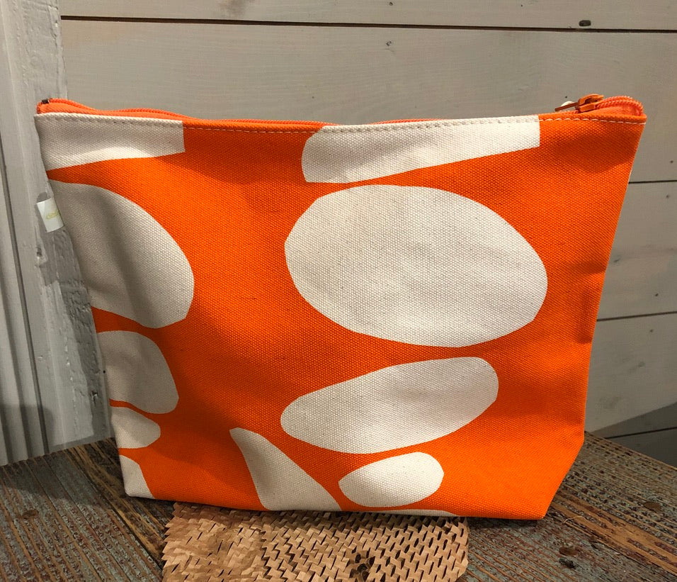 Orange Dot Large Makeup Bag