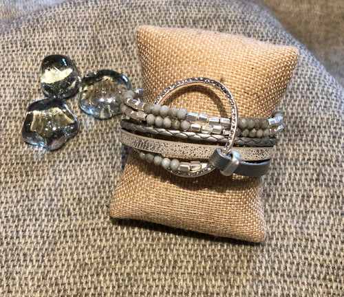 Gray w/Silver leather & Gray Beads Bracelet