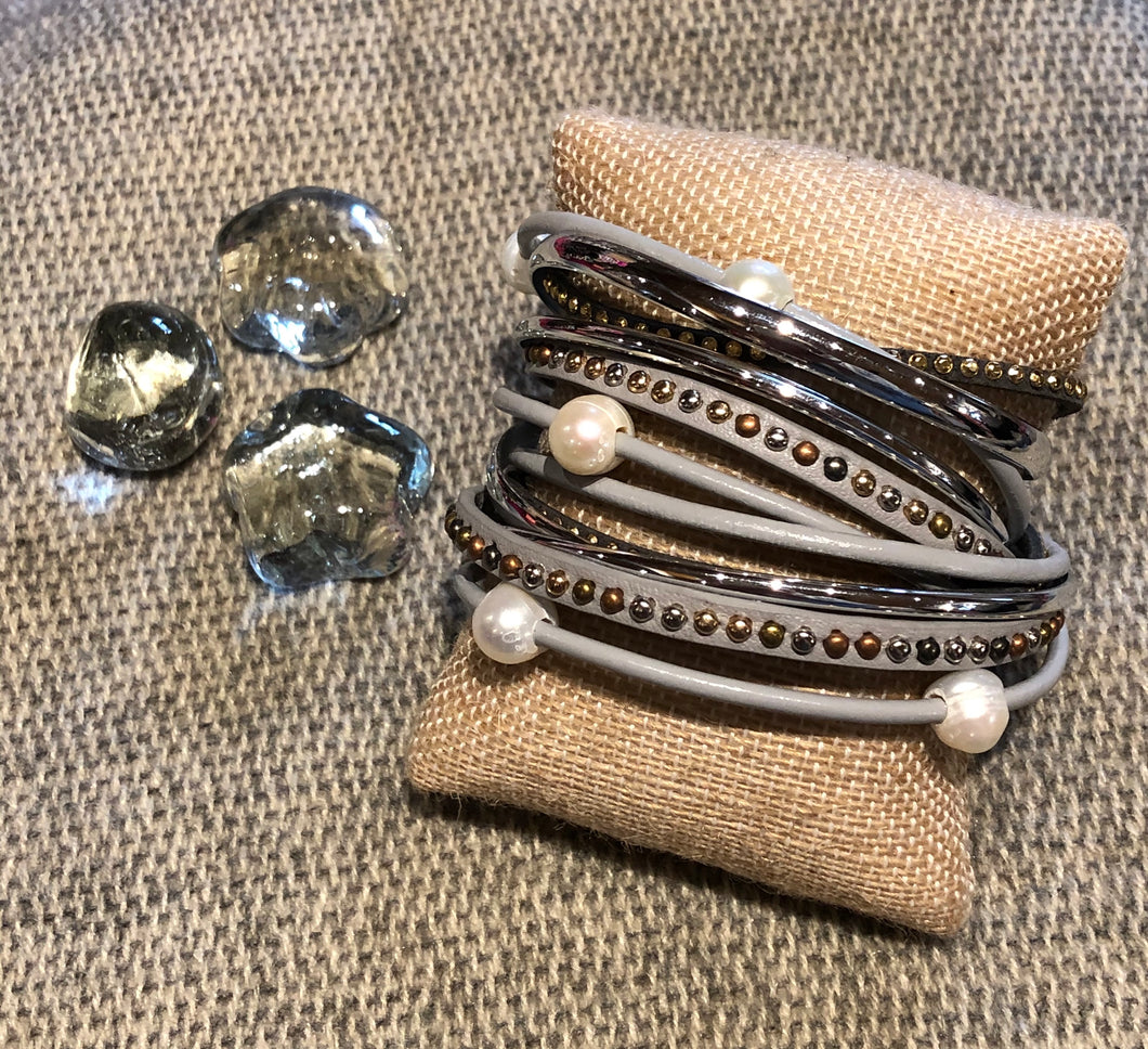 Gray w/Pearl and Silver Wrap Bracelet