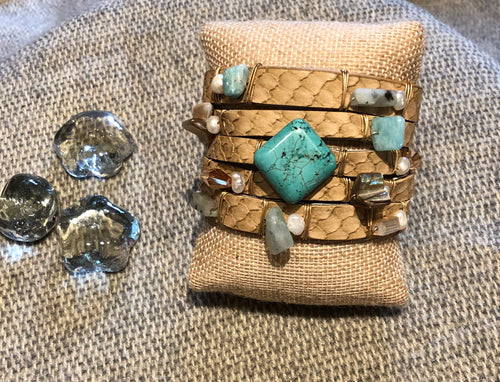Faux Leather w/Turquoise & Pearl Bracelet