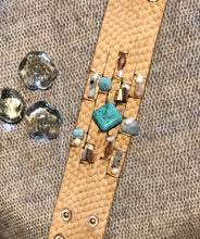 Load image into Gallery viewer, Faux Leather w/Turquoise & Pearl Bracelet