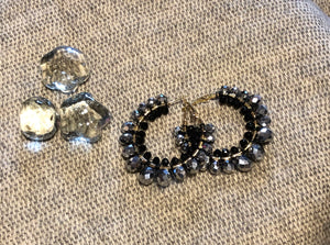 Black & Gray Beaded Earrings