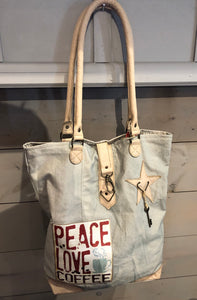 """Peace Love Coffee"" w/key accent Handbag"