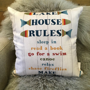 """Lake House Rules"" Pillow"