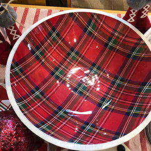 Red Tartan Enamel/Wood Serving Bowl