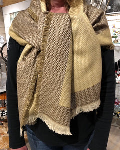 Cream/Brown Woven Scarf