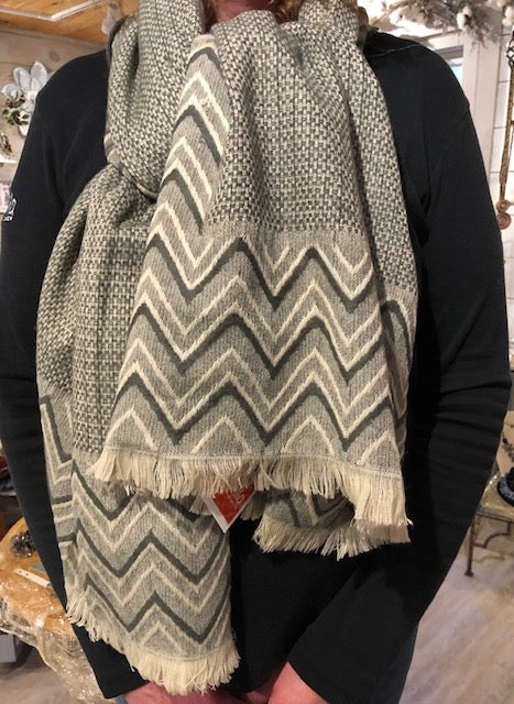 Gray Patterned Scarf