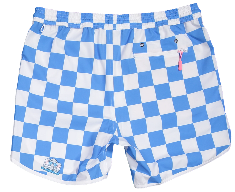 Sky and White checker shorts for gameday tailgate