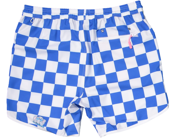Blue and White checker shorts for gameday tailgate recycled plastic