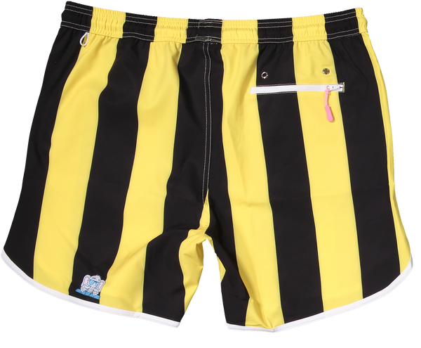 Black and yellow shorts for gameday tailgate Iowa made from recycled plastic