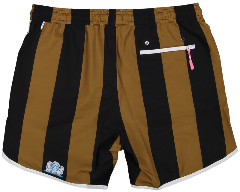 Black and Gold shorts for gameday tailgate from recycled plastic