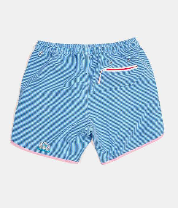 Junk In Your Trunks - Men's Swim Trunks - Blue with White Pin - Back
