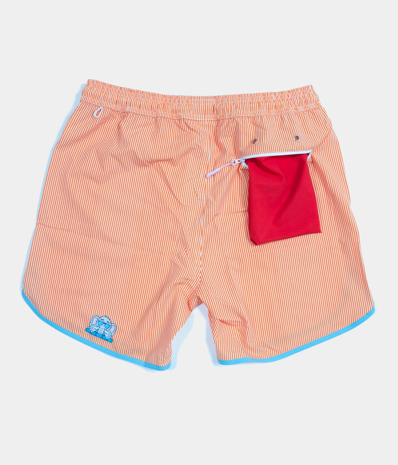 Junk In Your Trunks - Men's Swim Trunks - Orange with White Pin - Back