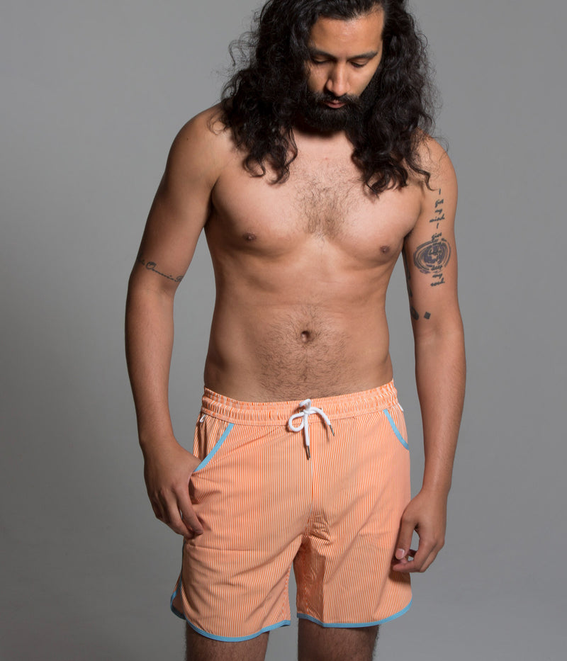 Junk In Your Trunks - Men's Swim Trunks - Orange with White Pin