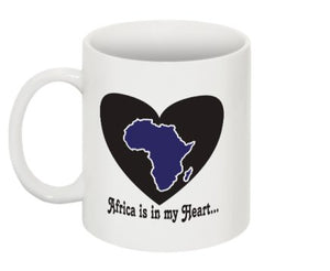 Africa is in my Heart V1 (In/Bk/Wh) Mug